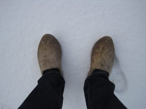 Wooden shoes in winter